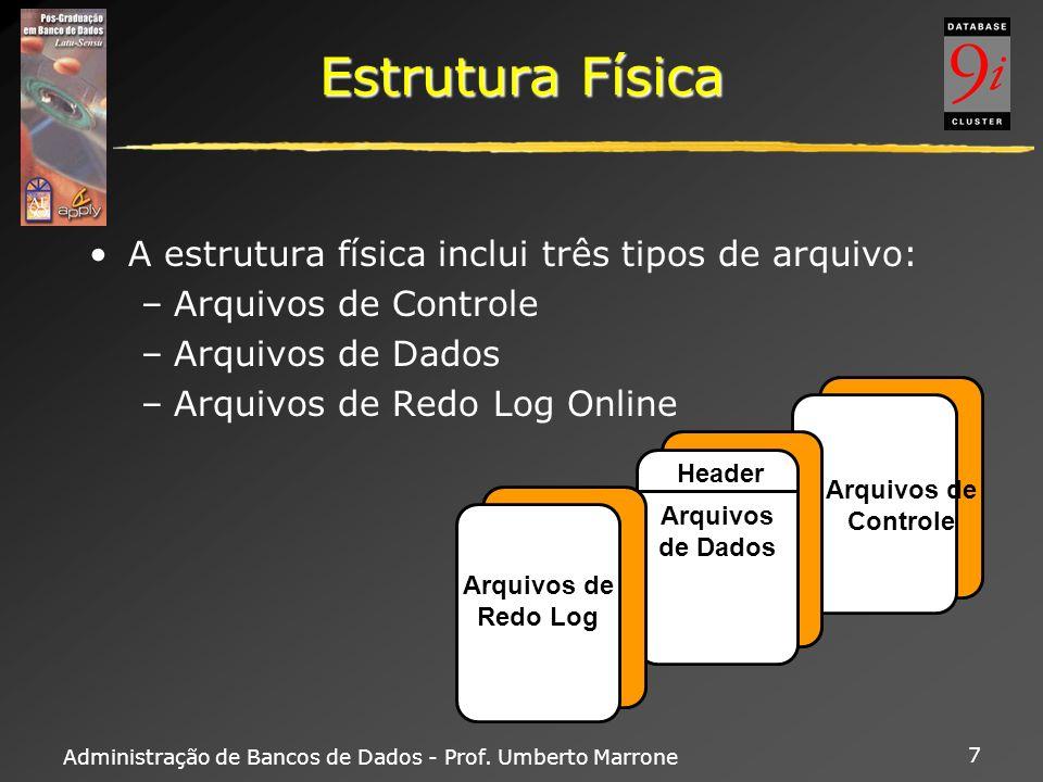 Estrutura Física A estrutura física inclui três tipos de arquivo: