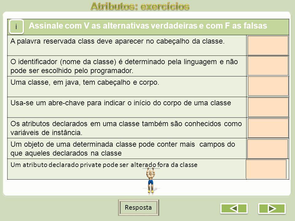 Atributos: exercícios