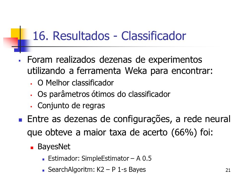 16. Resultados - Classificador
