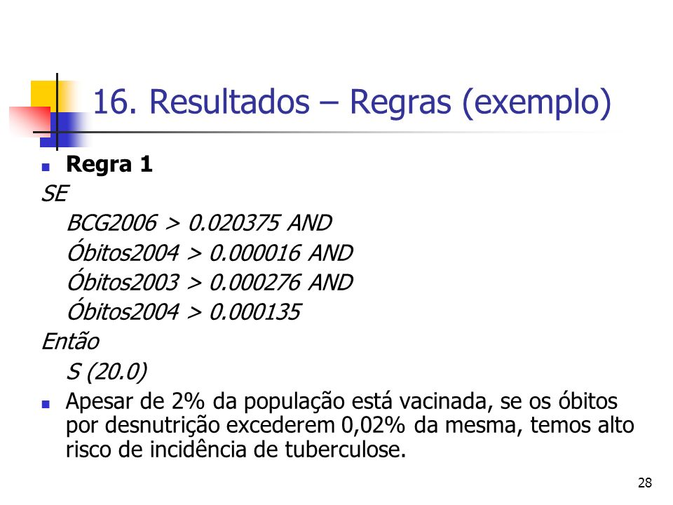 16. Resultados – Regras (exemplo)