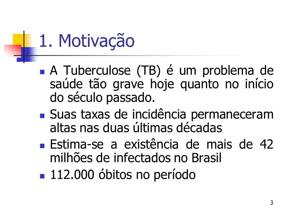 1. Motivação A Tuberculose (TB) é um problema de saúde tão grave hoje quanto no início do século passado.