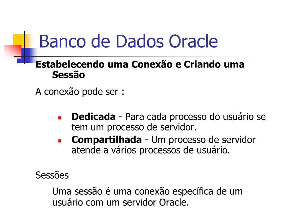 Banco de Dados Oracle Estabelecendo uma Conexão e Criando uma Sessão. A conexão pode ser :