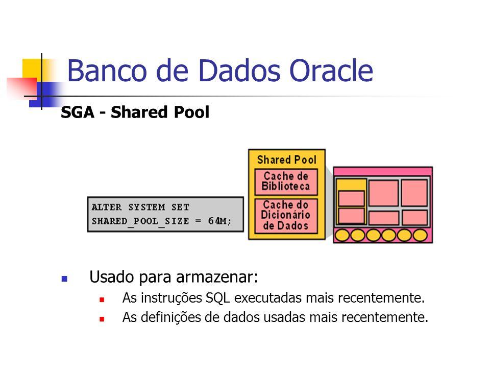 Banco de Dados Oracle SGA - Shared Pool Usado para armazenar: