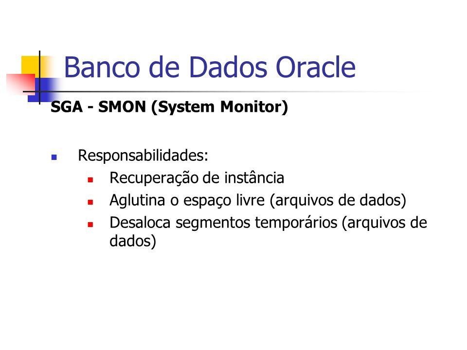 Banco de Dados Oracle SGA - SMON (System Monitor) Responsabilidades: