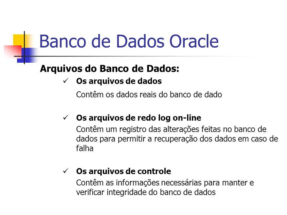 Banco de Dados Oracle Arquivos do Banco de Dados: