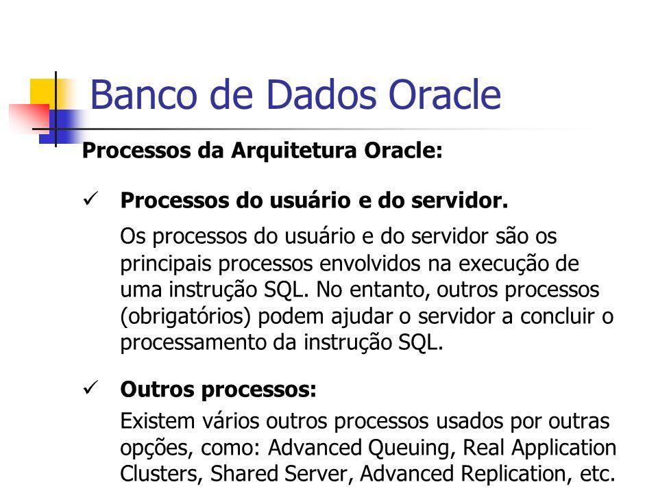Banco de Dados OracleProcessos da Arquitetura Oracle: Processos do usuário e do servidor.
