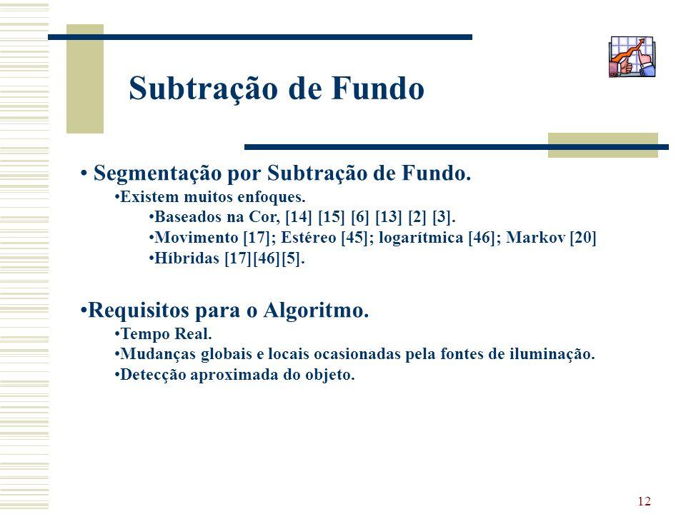 Subtração de Fundo Segmentação por Subtração de Fundo.