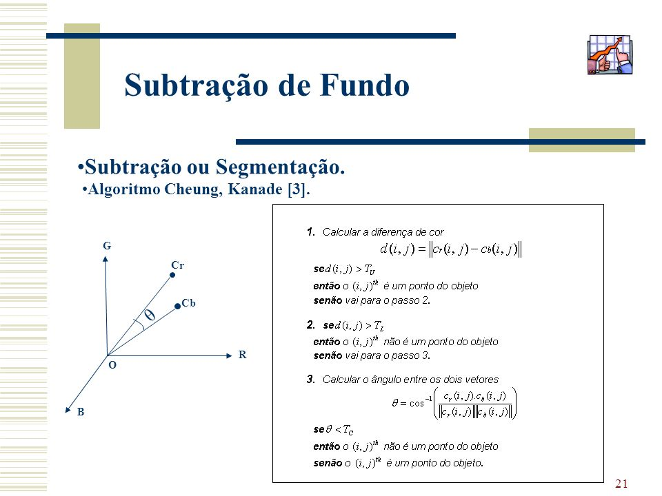 Subtração de Fundo Subtração ou Segmentação. θ