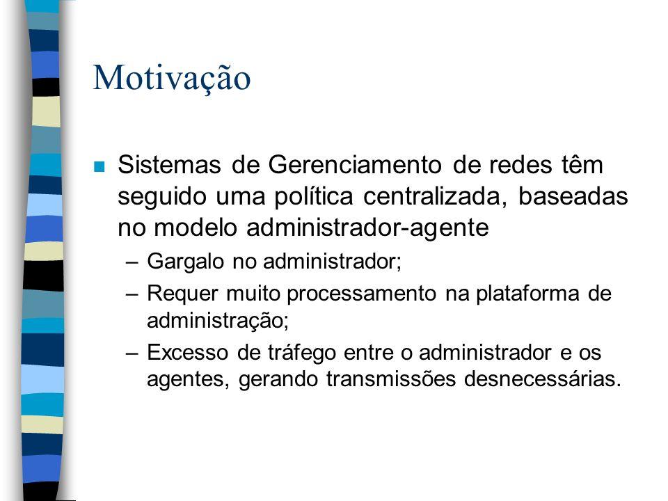 Motivação Sistemas de Gerenciamento de redes têm seguido uma política centralizada, baseadas no modelo administrador-agente.