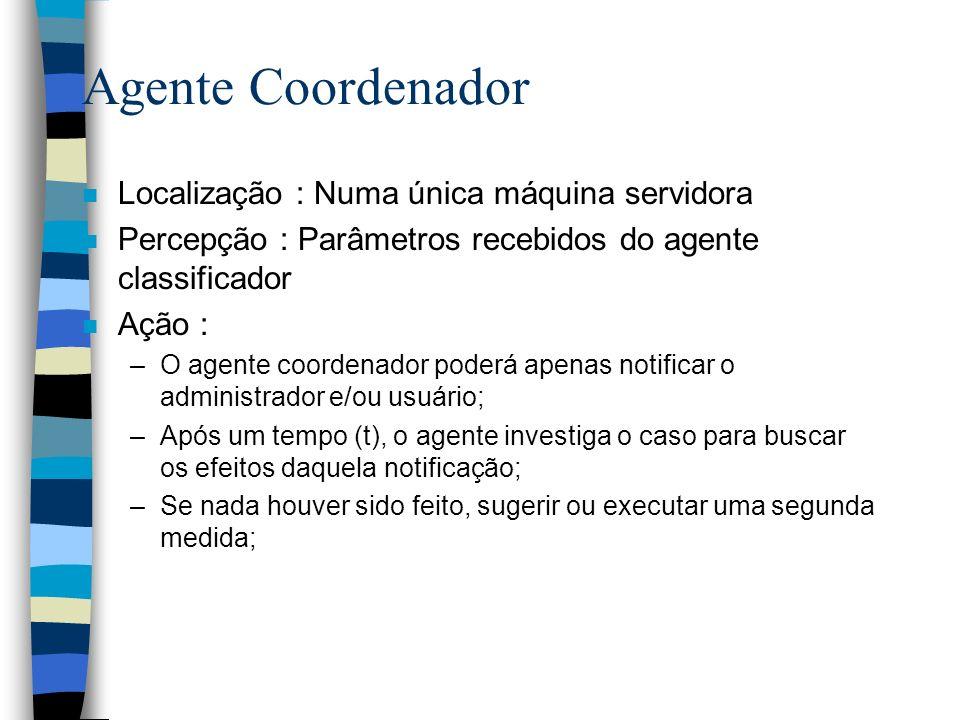 Agente Coordenador Localização : Numa única máquina servidora