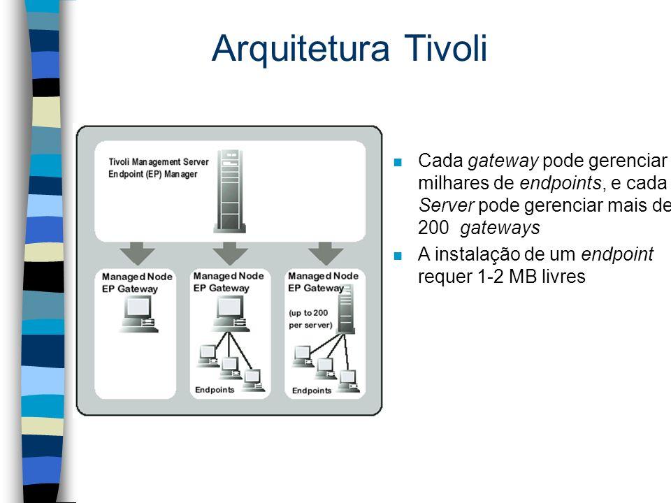 Arquitetura Tivoli Cada gateway pode gerenciar milhares de endpoints, e cada Server pode gerenciar mais de 200 gateways.
