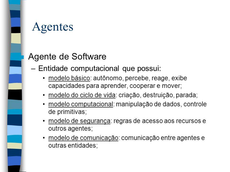 Agentes Agente de Software Entidade computacional que possui: