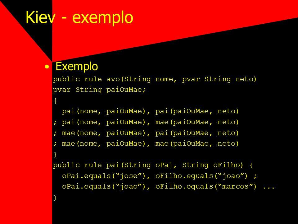 Kiev - exemplo Exemplo public rule avo(String nome, pvar String neto)
