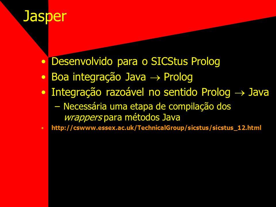 Jasper Desenvolvido para o SICStus Prolog Boa integração Java  Prolog