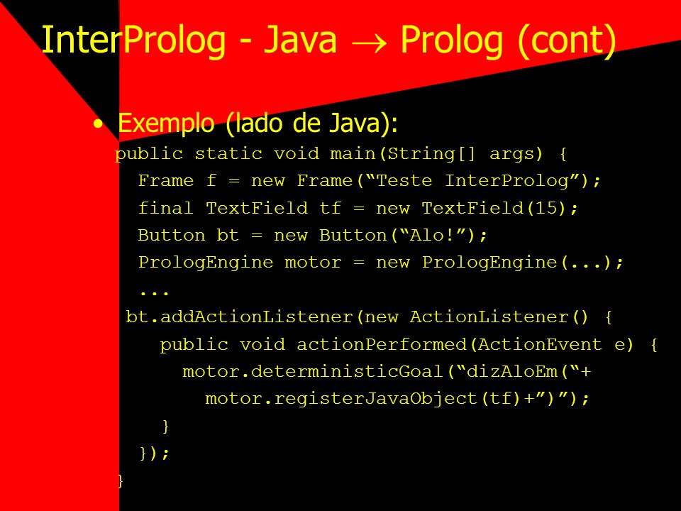 InterProlog - Java  Prolog (cont)