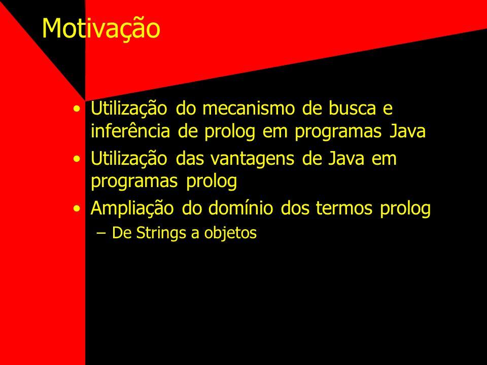 MotivaçãoUtilização do mecanismo de busca e inferência de prolog em programas Java. Utilização das vantagens de Java em programas prolog.