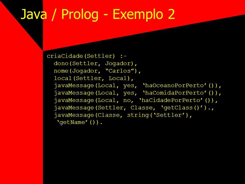 Java / Prolog - Exemplo 2 criaCidade(Settler) :-