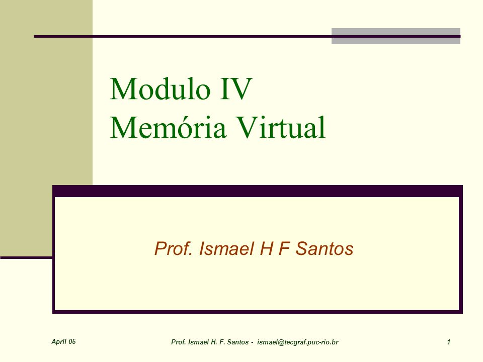 Modulo IV Memória Virtual