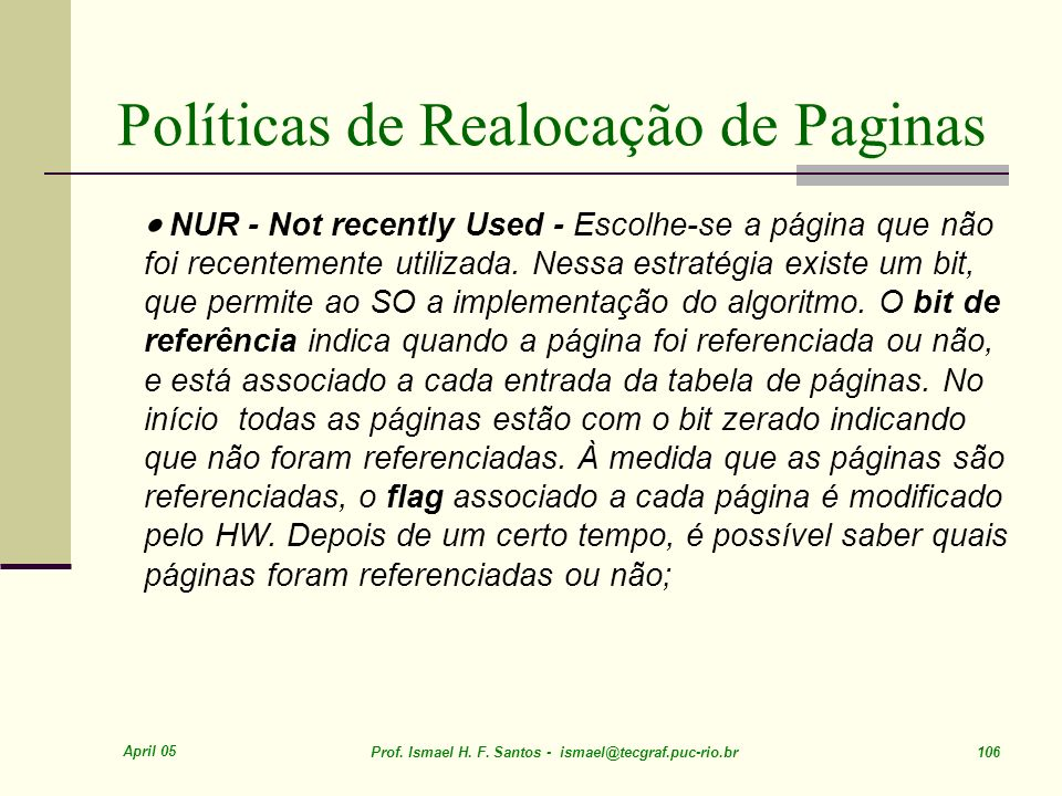 Políticas de Realocação de Paginas