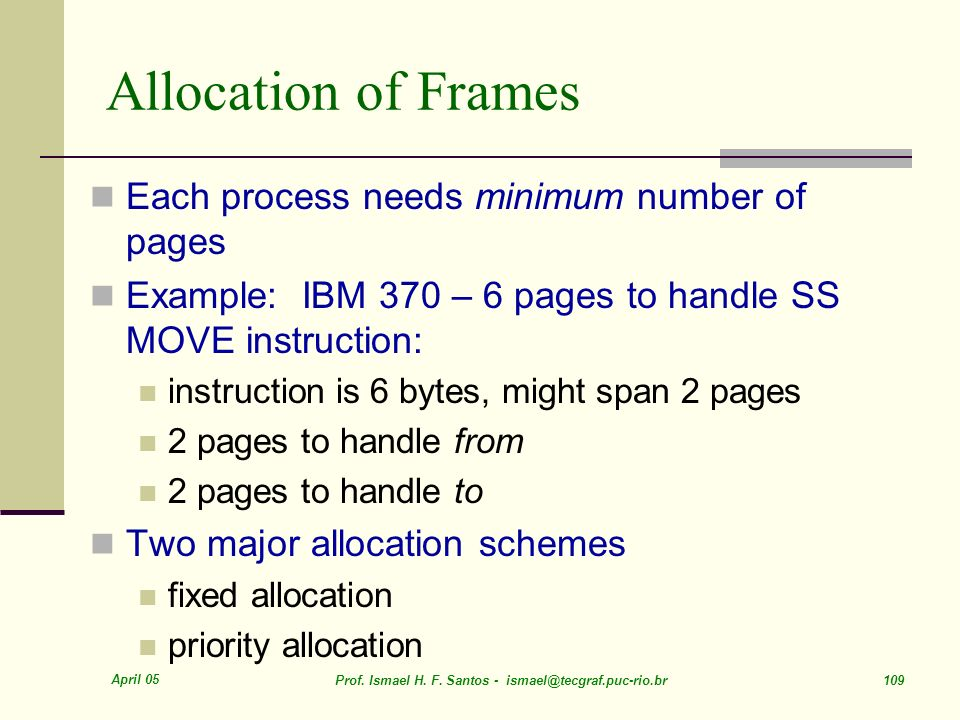 Allocation of Frames Each process needs minimum number of pages