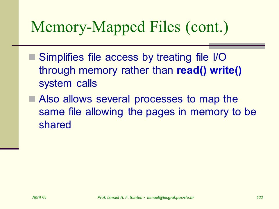 Memory-Mapped Files (cont.)
