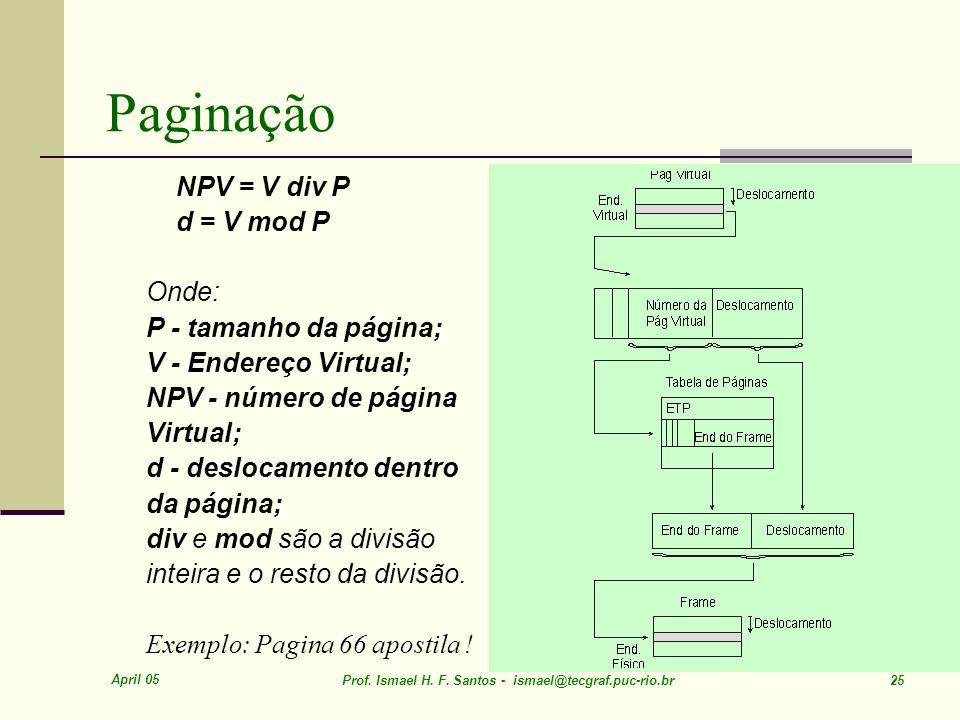 Paginação NPV = V div P d = V mod P Onde: P - tamanho da página;