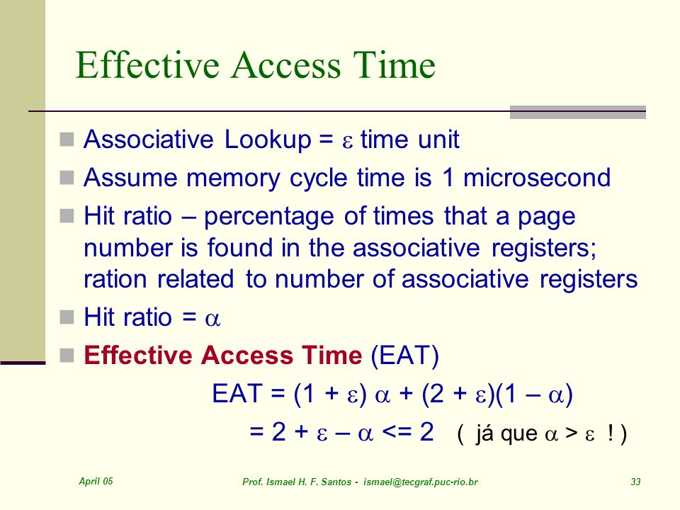 Effective Access Time Associative Lookup =  time unit