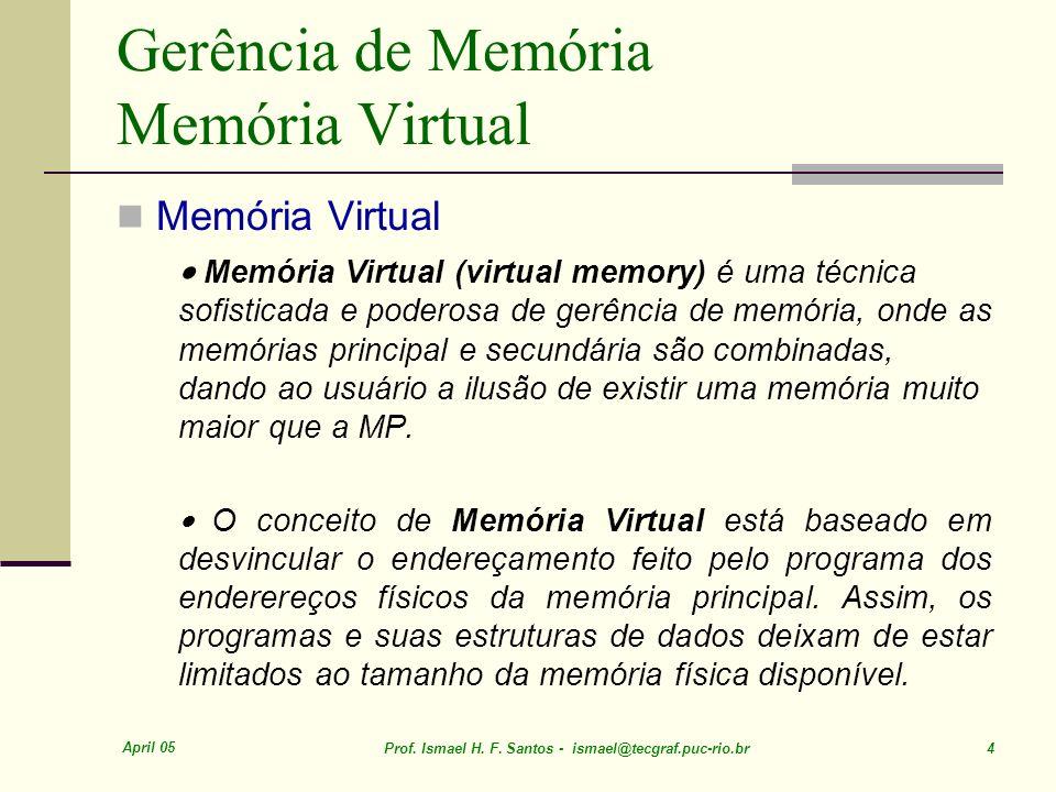 Gerência de Memória Memória Virtual