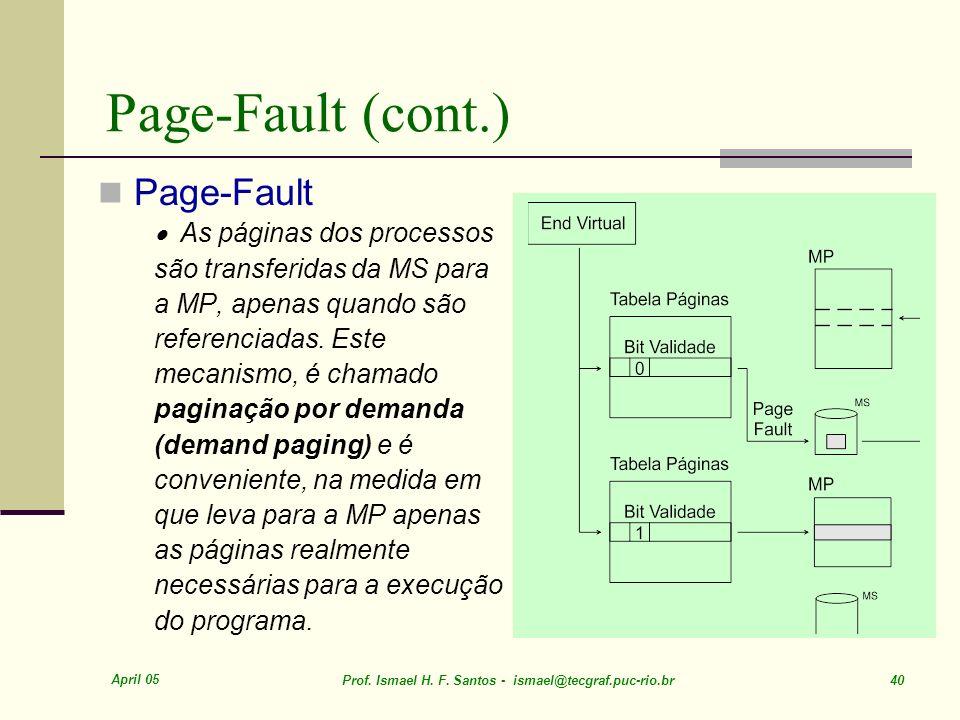 Page-Fault (cont.) Page-Fault · As páginas dos processos