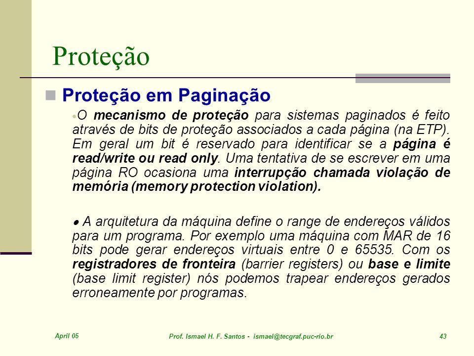 Proteção Proteção em Paginação