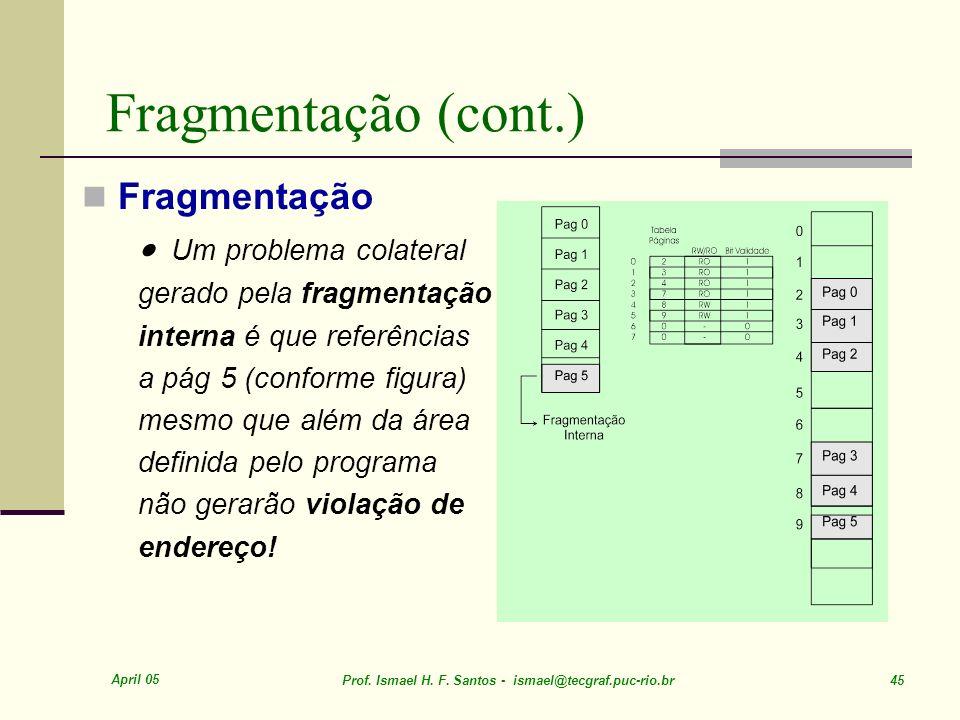 Fragmentação (cont.) Fragmentação · Um problema colateral