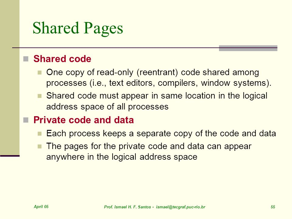 Shared Pages Shared code Private code and data