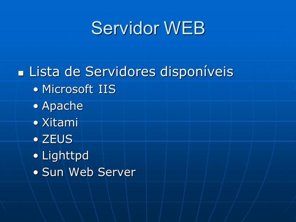 Servidor WEB Lista de Servidores disponíveis Microsoft IIS Apache