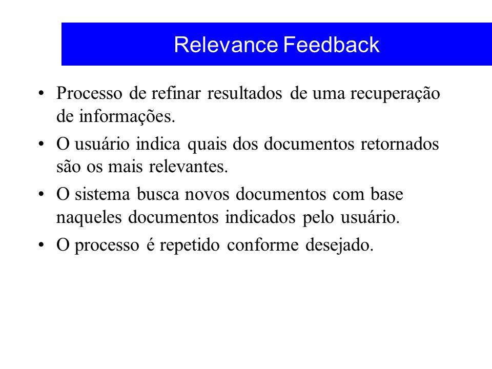 Relevance Feedback Processo de refinar resultados de uma recuperação de informações.
