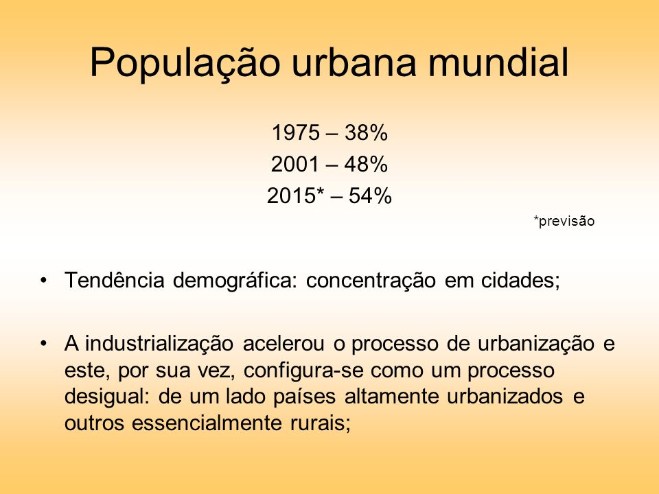 População urbana mundial