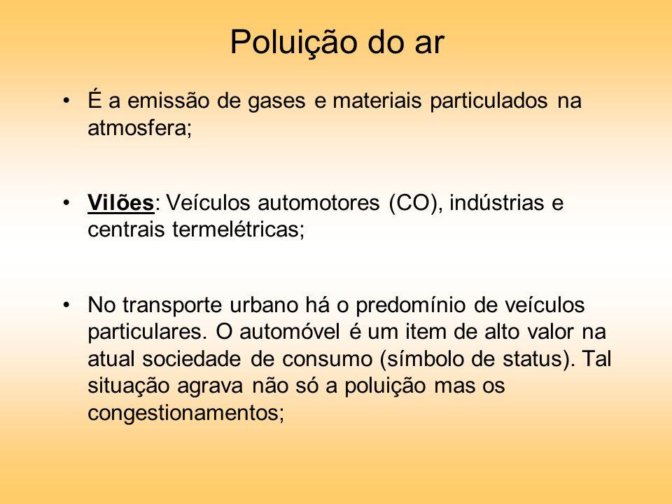 Poluição do ar É a emissão de gases e materiais particulados na atmosfera; Vilões: Veículos automotores (CO), indústrias e centrais termelétricas;