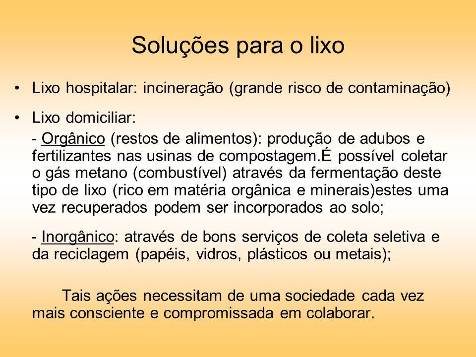 Soluções para o lixo Lixo hospitalar: incineração (grande risco de contaminação) Lixo domiciliar: