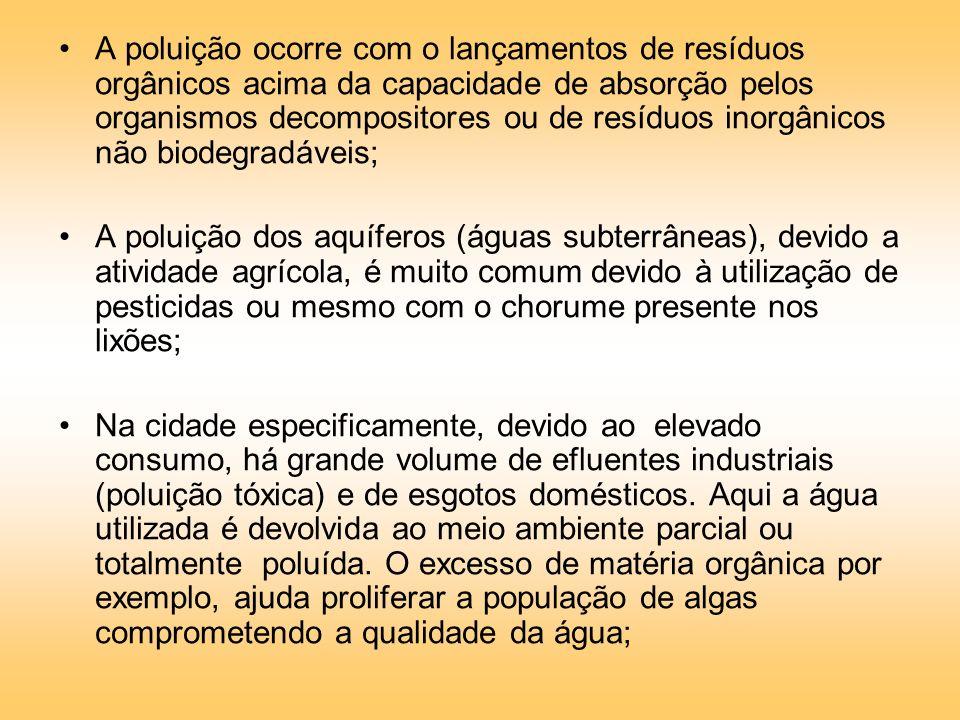 A poluição ocorre com o lançamentos de resíduos orgânicos acima da capacidade de absorção pelos organismos decompositores ou de resíduos inorgânicos não biodegradáveis;