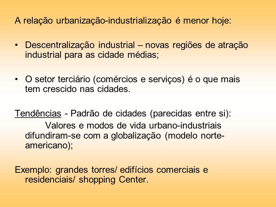 A relação urbanização-industrialização é menor hoje: