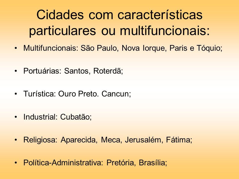 Cidades com características particulares ou multifuncionais: