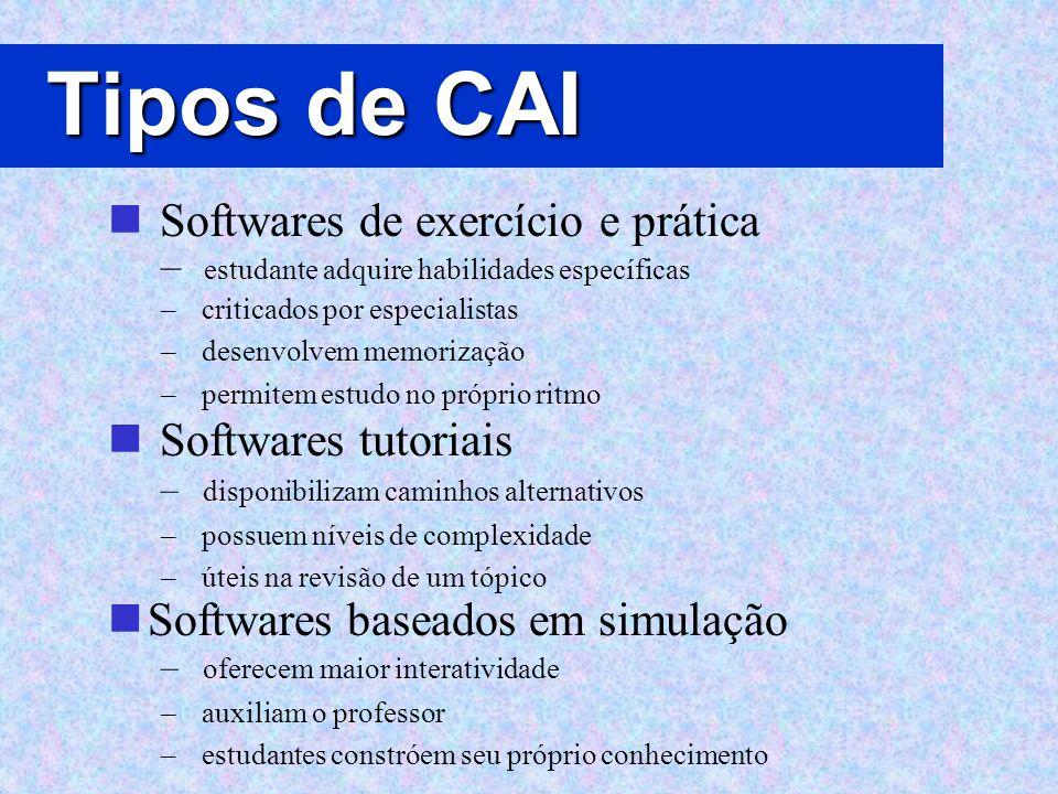 Tipos de CAI Softwares de exercício e prática Softwares tutoriais