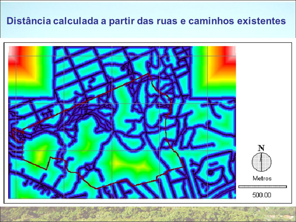 Distância calculada a partir das ruas e caminhos existentes