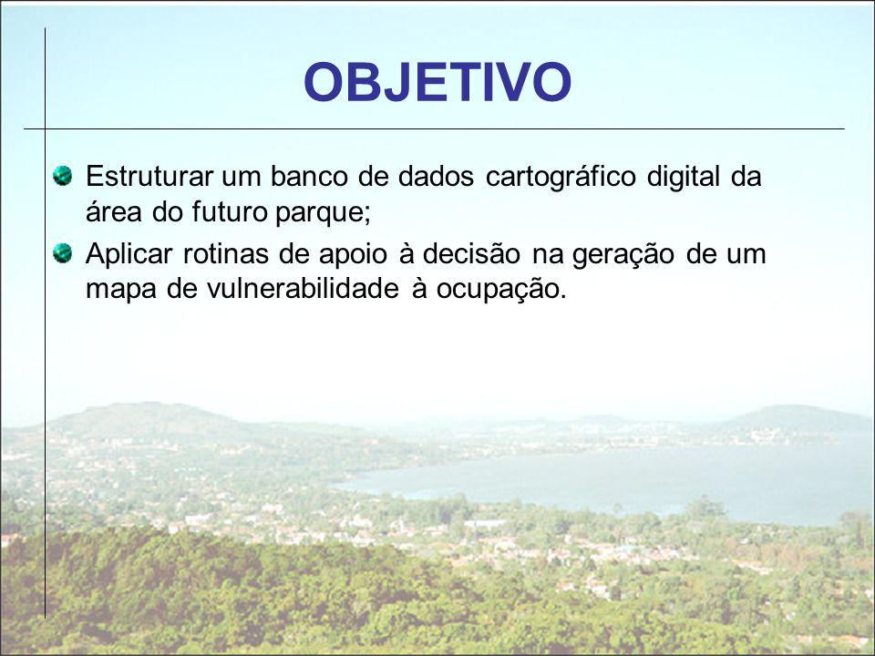OBJETIVOEstruturar um banco de dados cartográfico digital da área do futuro parque;