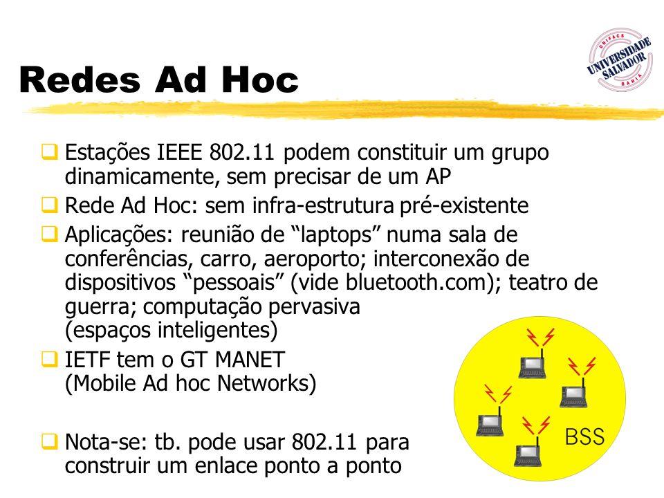 Redes Ad HocEstações IEEE 802.11 podem constituir um grupo dinamicamente, sem precisar de um AP. Rede Ad Hoc: sem infra-estrutura pré-existente.