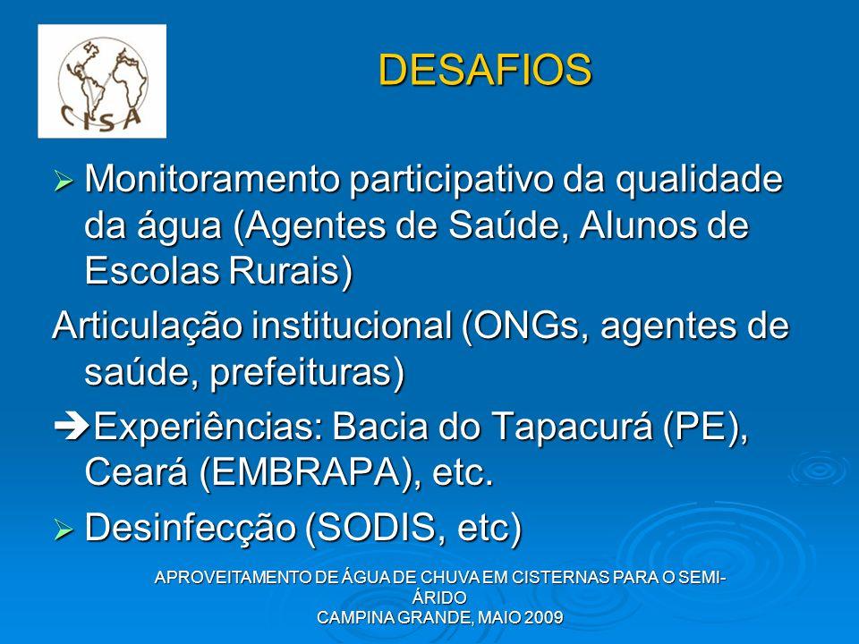 APROVEITAMENTO DE ÁGUA DE CHUVA EM CISTERNAS PARA O SEMI- ÁRIDO