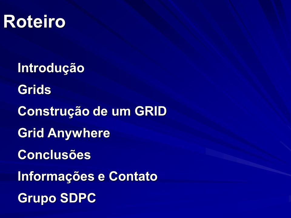 Roteiro Introdução Grids Construção de um GRID Grid Anywhere