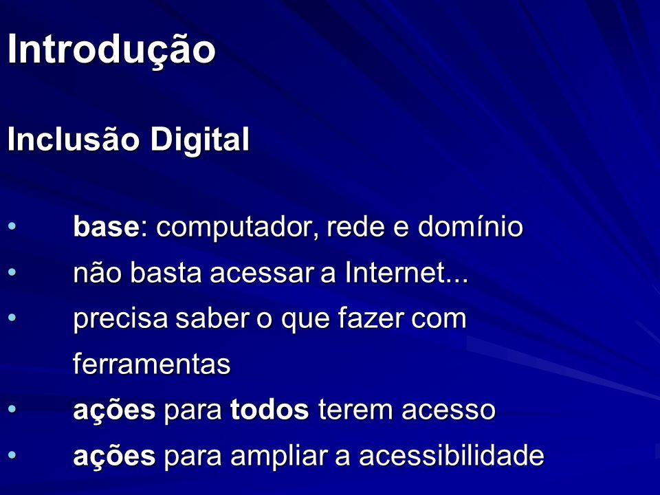 Introdução Inclusão Digital base: computador, rede e domínio