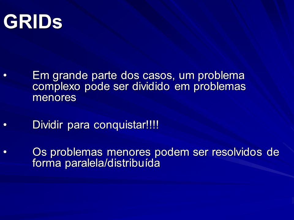 GRIDs Em grande parte dos casos, um problema complexo pode ser dividido em problemas menores. Dividir para conquistar!!!!