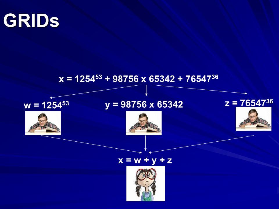 GRIDs x = 125453 + 98756 x 65342 + 7654736 w = 125453 y = 98756 x 65342 z = 7654736 x = w + y + z