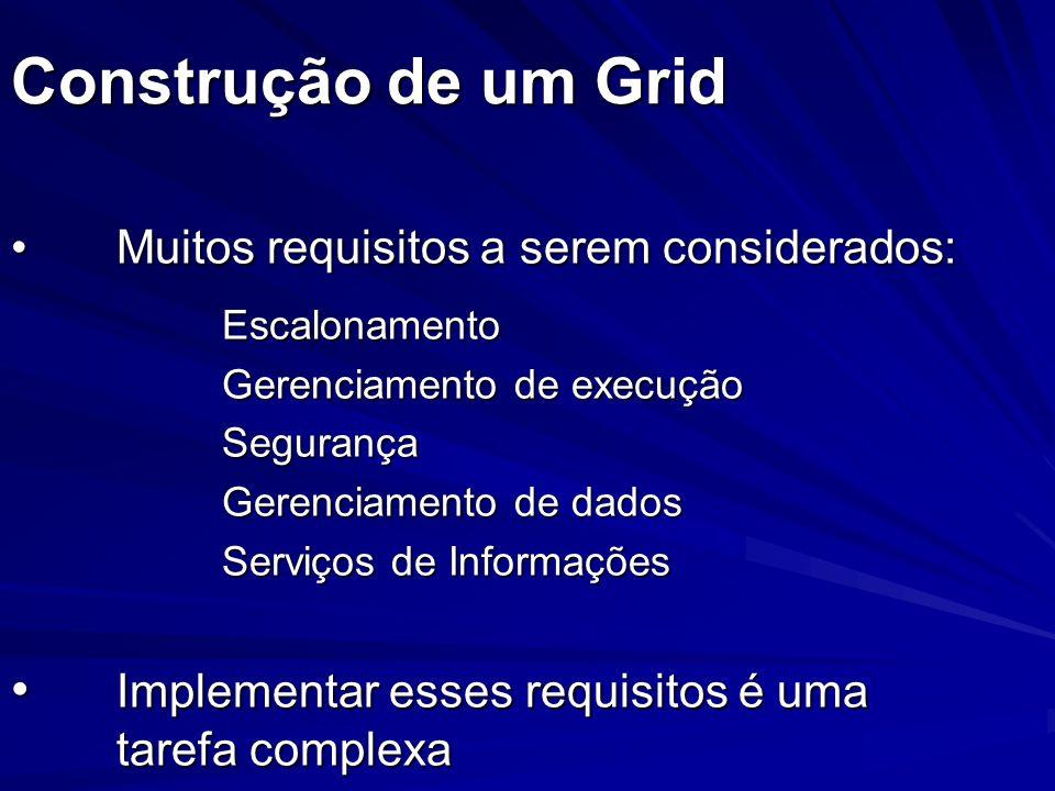 Construção de um Grid Muitos requisitos a serem considerados: Escalonamento. Gerenciamento de execução.
